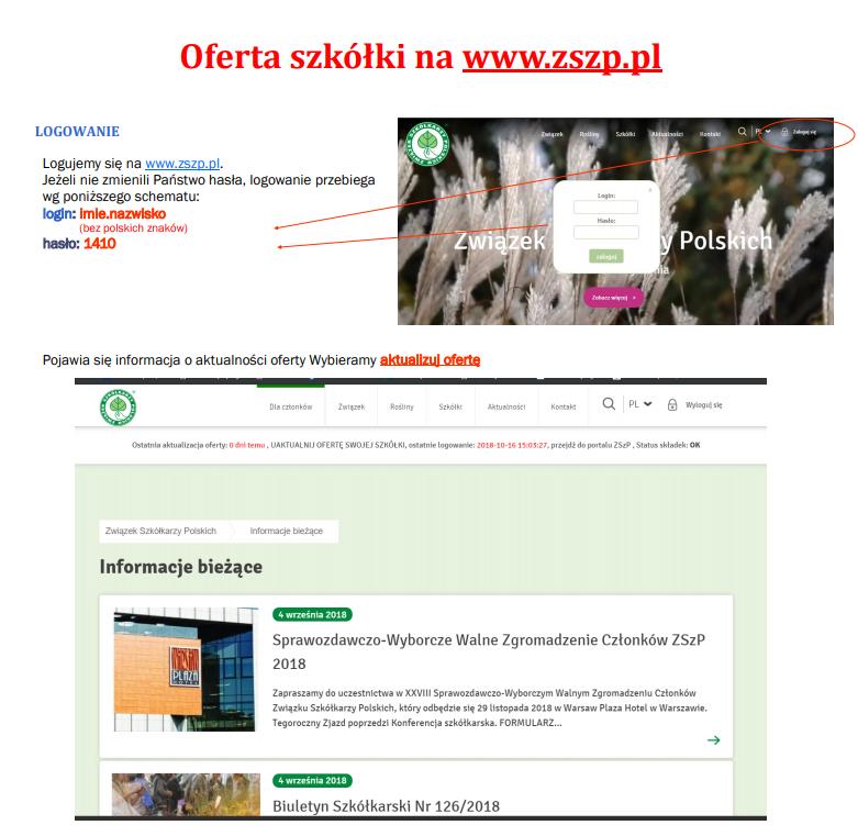 Aktualizacja ofert na www.zszp.pl www.e-katalogroslin.pl